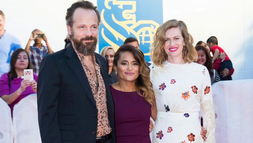 "Actor Peter Sarsgaard, left, director Veena Sud, centre, and actress Mireille Enos pose for photographs on the red carpet for the new movie ""The Lie"" during the 2018 Toronto International Film Festival in Toronto on Thursday. The Associated Press/ Nathan Denette"