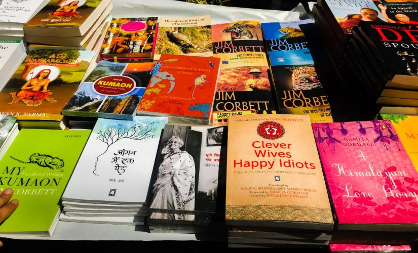 Books on Kumaoni folktales, history and culture displayed at the Himalayan Echoes