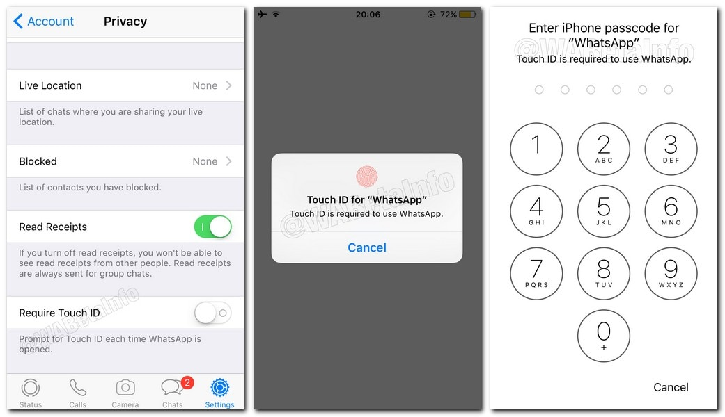 WhatsApp FaceID and TouchID. Wabetainfo
