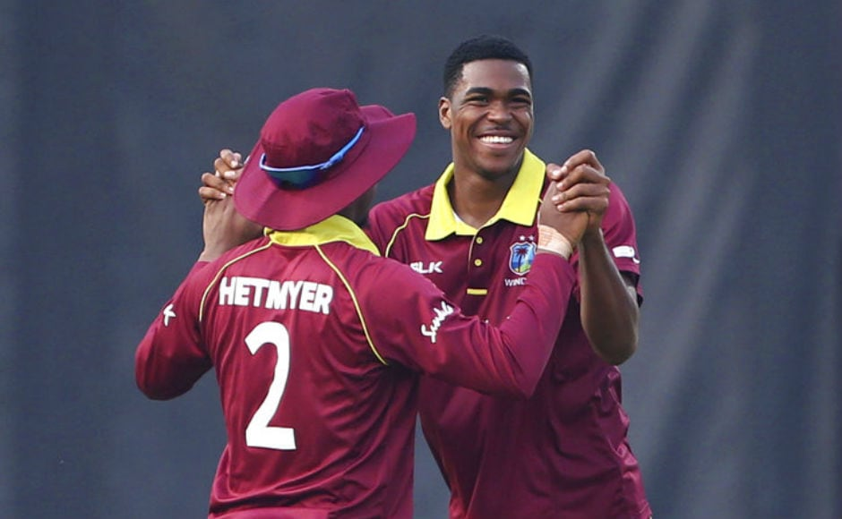 West Indies debutant Obed McCoy dismissed MS Dhoni to collect his maiden international wicket. AP