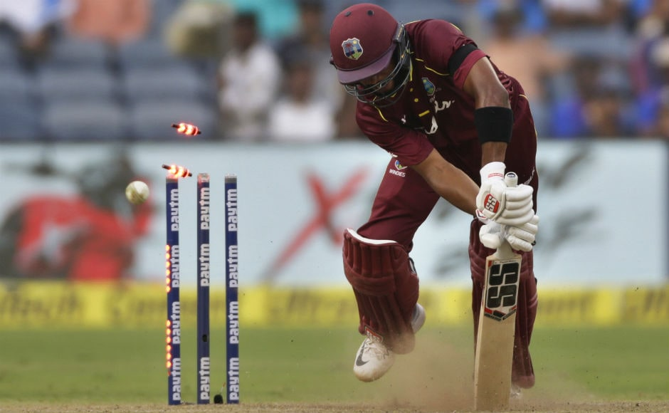 Shai Hope is yorked by Jasprit Bumrah to fall short of a second consecutive ton by five runs. AP