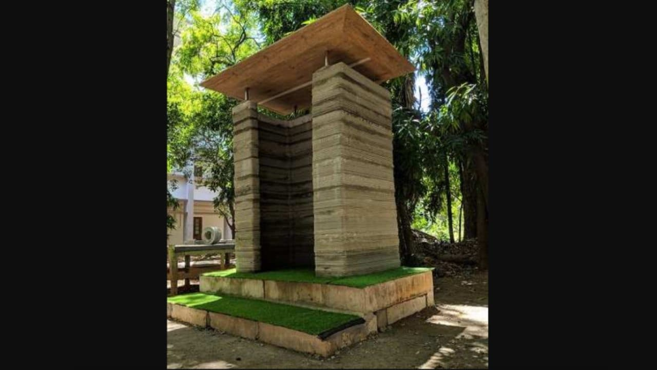 A 3D-printed building made using the newly developed technology. Image courtesy: IITM