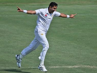 Pakistan's Mohammad Abbas celebrates dismissing Australia's Shaun Marsh during their Test match in Abu Dhabi, United Arab Emirates, Wednesday, Oct. 17, 2018. (AP Photo/Kamran Jebreili)