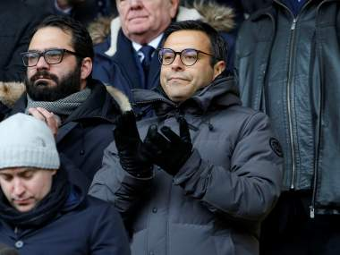 "Soccer Football - Championship - Sheffield United vs Leeds United - Bramall Lane, Sheffield, Britain - February 10, 2018 Leeds United owner Andrea Radrizzani (R) watches from the stands Action Images/Craig Brough EDITORIAL USE ONLY. No use with unauthorized audio, video, data, fixture lists, club/league logos or ""live"" services. Online in-match use limited to 75 images, no video emulation. No use in betting, games or single club/league/player publications. Please contact your account representative for further details. - RC15C178F850"