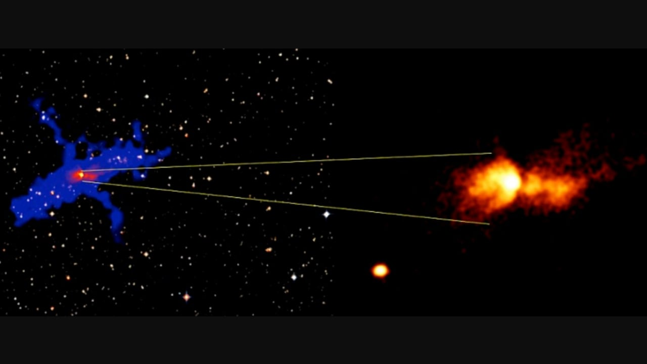On the right is a false-colour image of the bright ultraviolet lobes of the Butterfly Nebula, as pictured from AstroSat data. On the left is the same image in red, with a cartoon in blue marking the full extent of the newly discovered ultraviolet lobes and the jets. Image credit: Rao and Sriram.