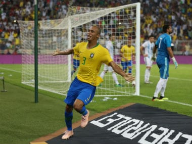 Brazil's Miranda scores the winner in injury-time against Argentina. AFP