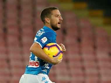 Dries Mertens' 90th minute equaliser for Napoli means that the gap between them and Juventus is just six points. Reuters