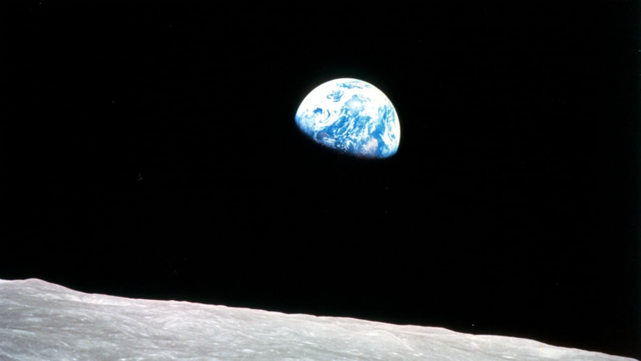 Apollo 8, the first manned mission to the moon, entered lunar orbit on Christmas Eve, Dec. 24, 1968. Image: NASA
