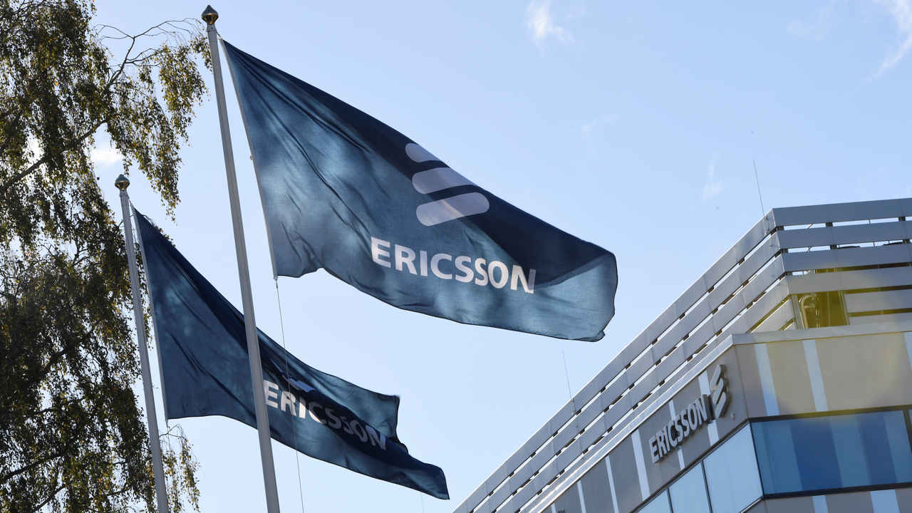 Flags with Ericsson logo are pictured outside company's head office in Stockholm, Sweden. Image: Reuters
