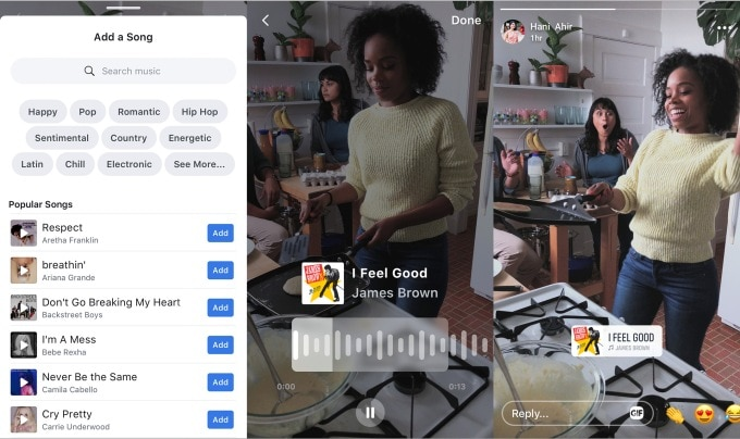 Facebook is also bringing music stickers from Instagram. Image: TechCrunch