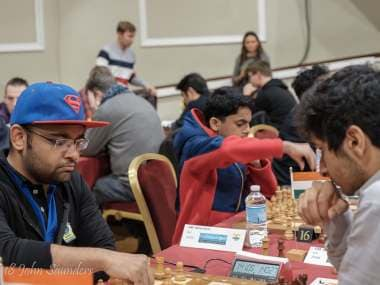 GM Abhijeet Gupta scored his second straight upset to take joint lead in the tournament. John Saunders