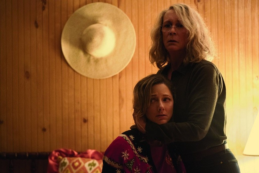 Jamie Lee Curtis and Judy Greer in a still from Halloween. Image via Twitter
