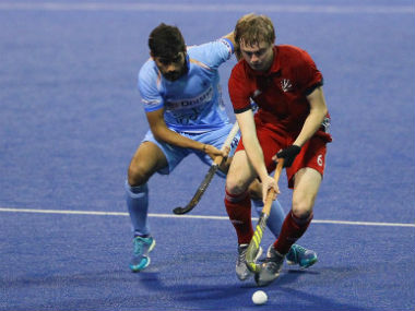 Indian junior men's hockey team in action against Great Britain in the Final of the 8th Sultan of Johor Cup 2018. Image Courtesy: @TheHockeyIndia