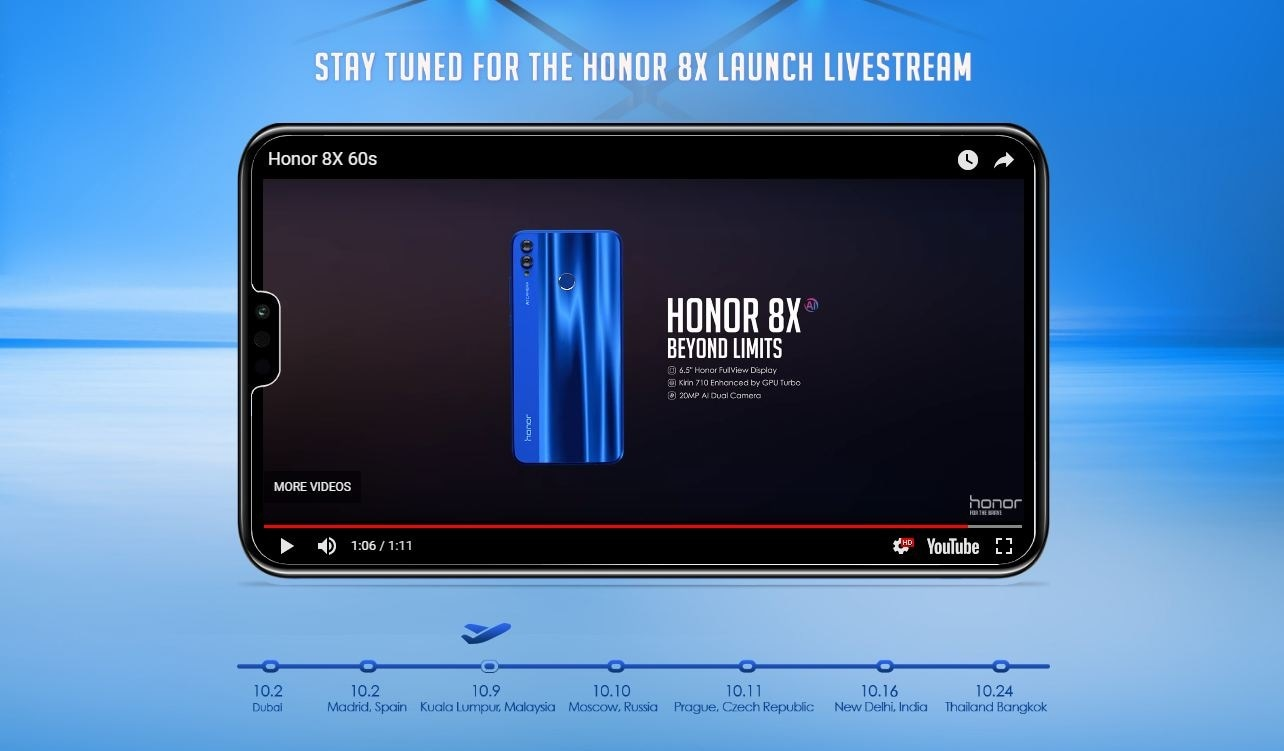 Honor 8X confirmed to launch in India on 16 October, reveals