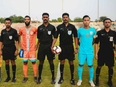 Captains of Chennai City FC and Indian Arrows pose with referees before the start of the match. Image Courtesy Twitter @IndianFootball