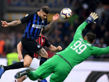 Inter Milan's Mauro Icardi scores the winner against AC Milan. Reuters