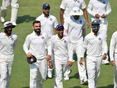 India took a 1-0 lead in the two-math series with victory at Rajkot. AFP