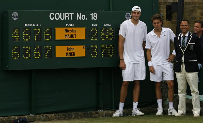 John Isner and Nicholas Mahut played a laughably staggering 138 games in the fifth set back in 2010, with Isner winning 70-68. Glyn Kirk/AFP