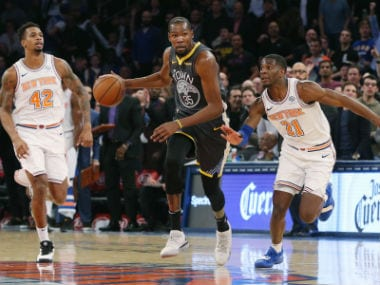 NBA: Kevin Durant shines in Warriors dominating win over Knicks; Raptors see off Mavericks to continue perfect start