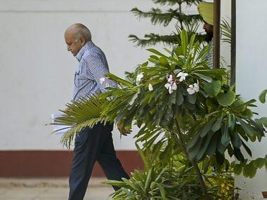 MJ Akbar outside his residence on Sunday. PTI