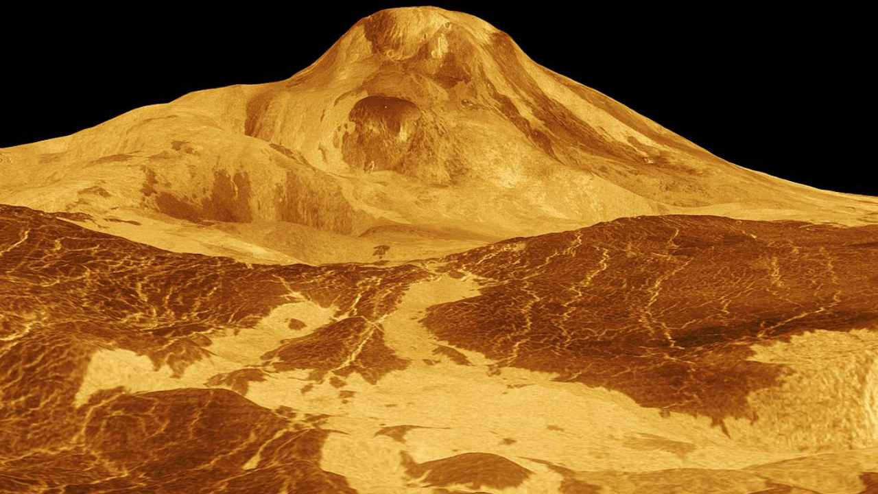 An image of Maat Mons, a massive shield volcano. It is the second-highest mountain, and the highest volcano, on Venus, recreated from Magellan data. Image courtesy: NASA