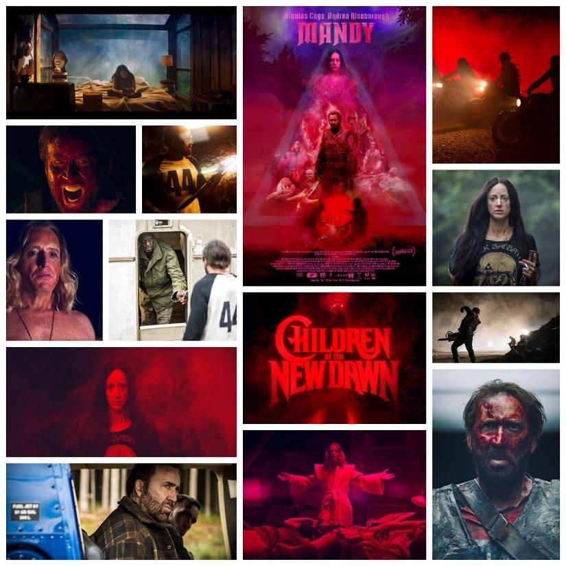 Various stills highlighting the vivid colour palette in Mandy. Image via Facebook