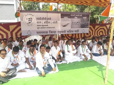 NCP holds silent protest in Mumbai on Mahatma Gandhi's birth anniversary, accuses BJP of pushing country backwards