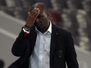 Nice coach Patrick Vieira reacts after losing to Marseille at home. AFP
