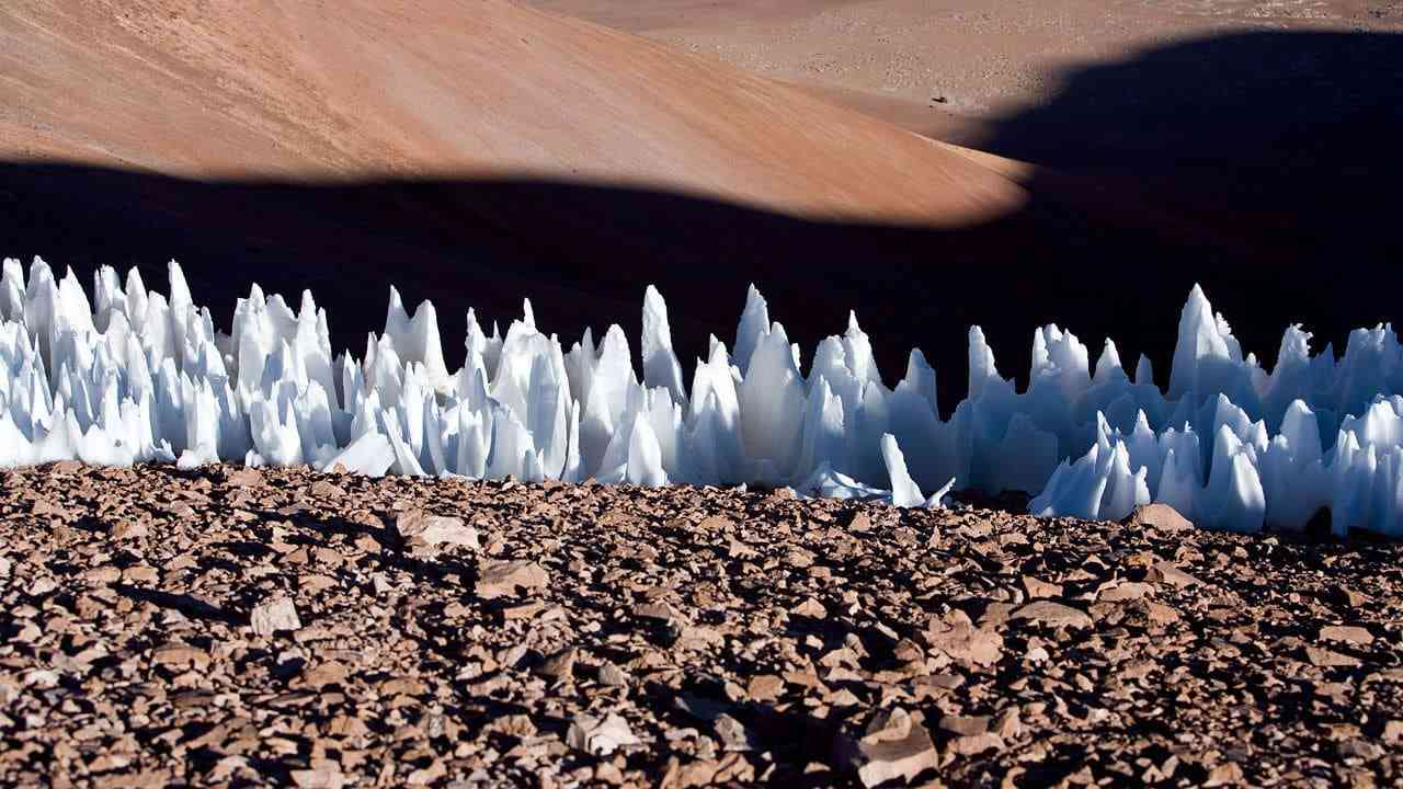 Penitentes ice formations in the Chajnantor plains of Chile, as seen in 2005. Image courtesy: ESO
