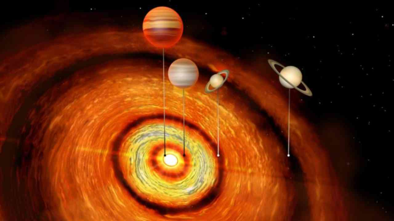 Artist's impression of the four gas giants orbiting the young star, CI Tau. Image courtesy: University of Cambridge