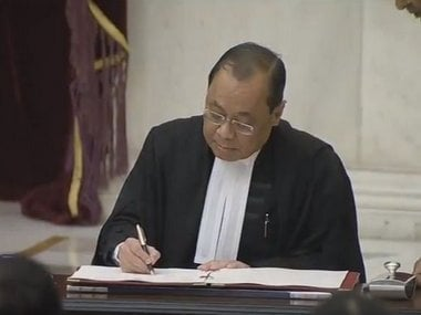 Chief Justice Ranjan Gogoi at his swearing-in ceremony. Image Courtesy: DD News