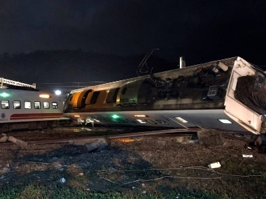 The Puyuma express train was carrying more than 300 passengers toward Taitung, a city on Taiwan's southeast coast, when it went off the tracks on Sunday afternoon. AP