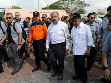 UN chief Antonio Guterres in Palu. Reuters