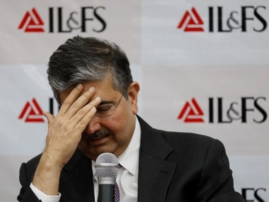 Uday Kotak, newly appointed Non-Executive Chairman of Infrastructure Leasing and Financial Services Ltd. (IL&FS) addresses a news conference at the company's headquarters in Mumbai. Reuters