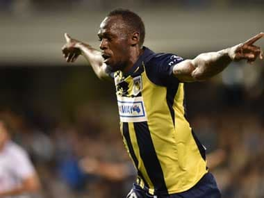 Usain Bolt celebrates scoring a goal for Central Coast Mariners. AFP