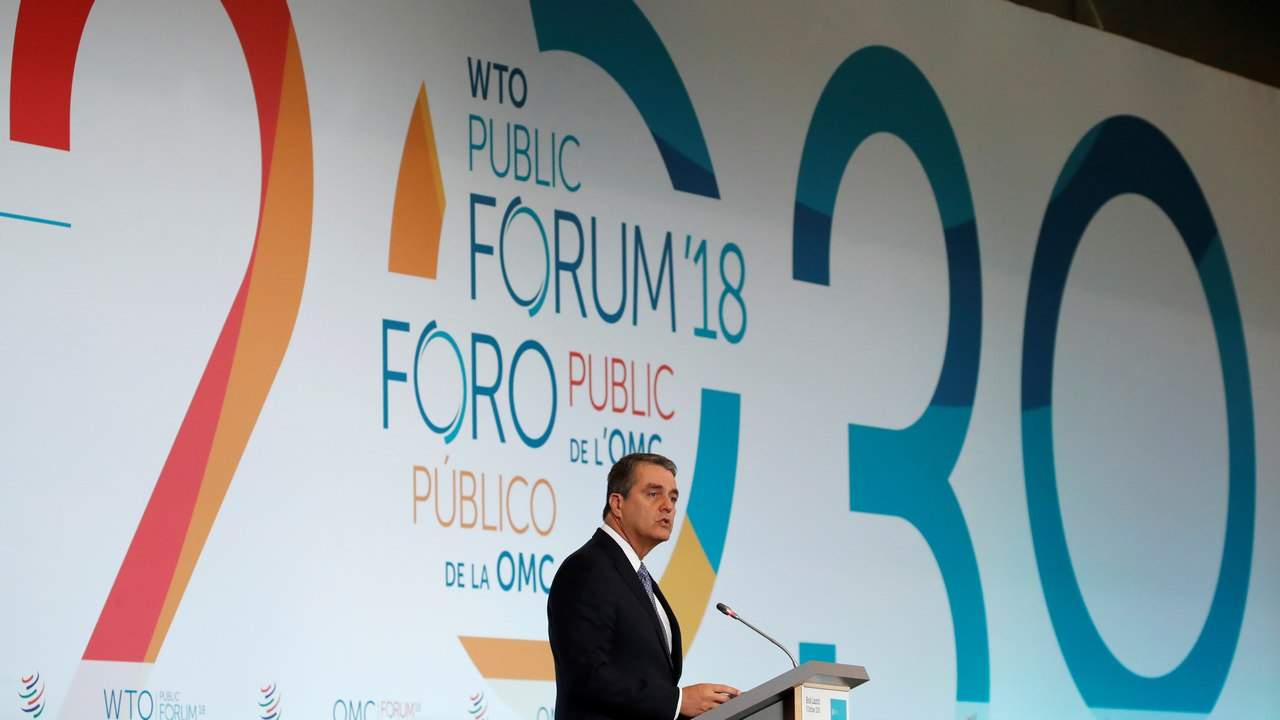 Roberto Azevedo, Director-General of the World Trade Organization (WTO) attends the launch of the World Trade Report 2018 in Geneva. Reuters