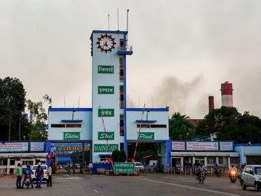 Smoke seen emanating from the Bhilai steel plant. PTI