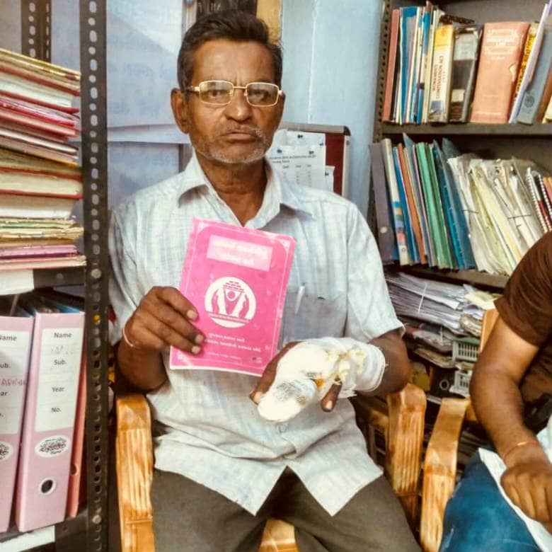 Vinod Makwana is a carpenter and has been fighting a long battle for compensation after he sustained a debilitating injury on his arm. Image courtesy: Pallavi Rebbapragada/Firstpost
