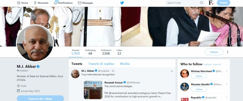 MJ Akbar removes Minister of State for External Affairs from Twitter bio after furore in media