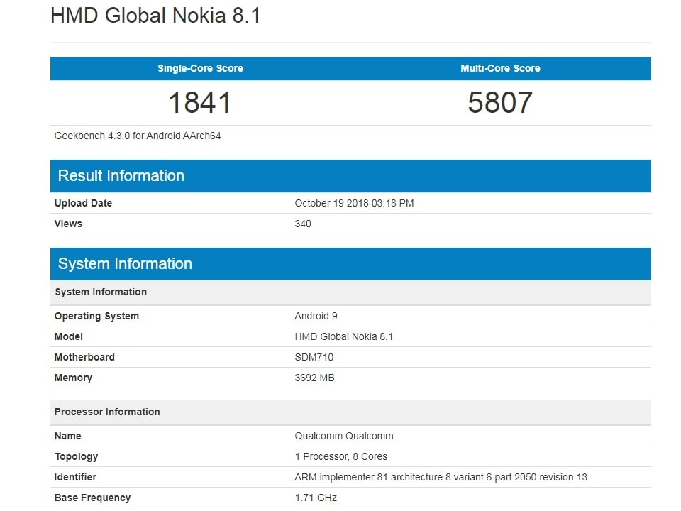 Nokia 8.1 gets spotted on Geekbench with Snapdragon 710 SoC, 4 GB of RAM