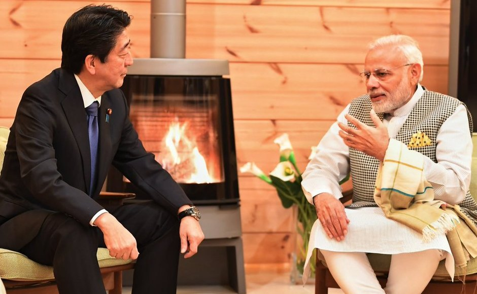 Shinzo Abe hosted Modi at his personal villa near Lake Kawaguchi in Yamanashi. Modi is the first foreign leader to be invited to the villa. Twitter/@MEAIndia