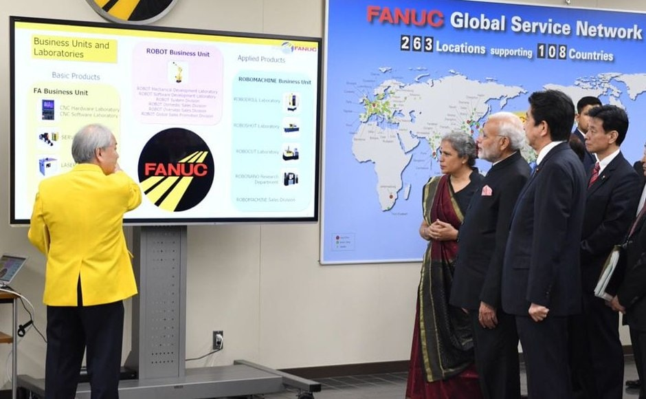 Modi and Abe visited the FANUC Corporation, one of the largest makers of industrial robots in the world in Yamanashi, and took a tour the robotics and automation facilities. Twitter/@MEAIndia