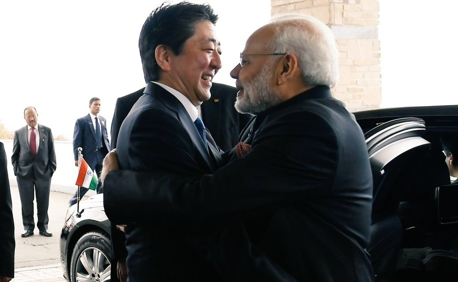 Modi was received by Japan's Prime Minister Shinzo Abe with a hug on his arrival at the Hotel Mt. Fuji in Yamanashi. This is the 12th meeting between the two leaders in the last four years. Twitter/@MEAIndia
