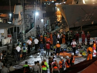 Members of Indonesian National Search and Rescue Agency (BASARNAS) conduct search operation in the area where a Lion Air passenger jet is suspected to crash, at Tanjung Priok Port in Jakarta. AP