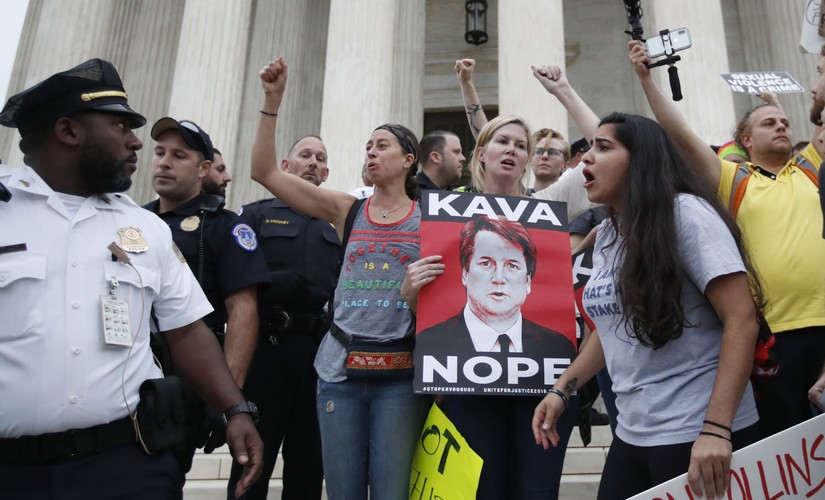 Protesters swarmed Capitol Hill on Saturday against Brett Kavanaugh's appointment as US Supreme Court justice. AP