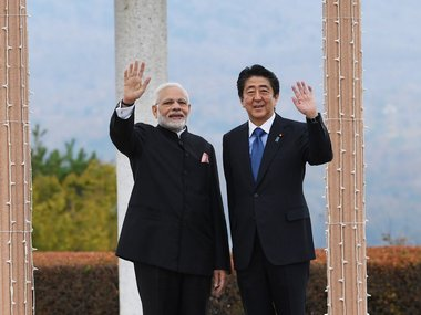 Narendra Modi with Shinzo Abe during his visit to Japan. Twitter/@narendramodi
