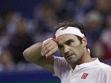 Roger Federer reacts during a match at the recent Shanghai Masters. AP Photo