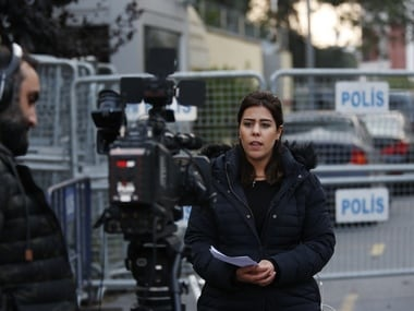 Journalists report from outside Saudi Arabia's consulate in Istanbul. File image. AP
