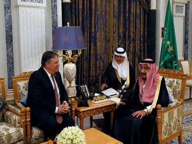 Saudi Arabia's King Salman bin Abdulaziz Al Saud meets with US Secretary of State Mike Pompeo in Riyadh. Reuters