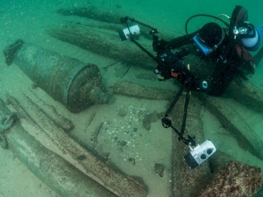 The ship, which was lying on its side with its mast and rudders intact, was dated back to 400 BC. Reuters